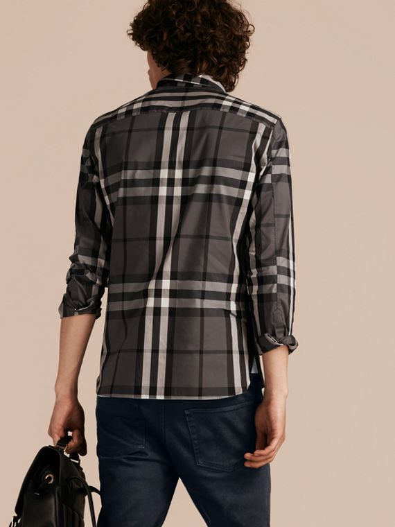 Check Stretch Cotton Shirt in Charcoal - Men | Burberry Australia - cell image 2