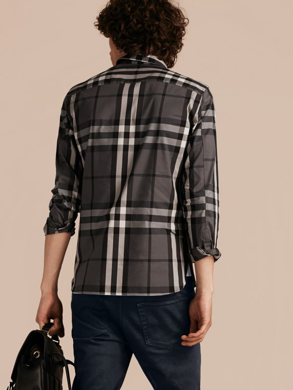 Check Stretch Cotton Shirt in Charcoal - Men | Burberry Singapore - cell image 2