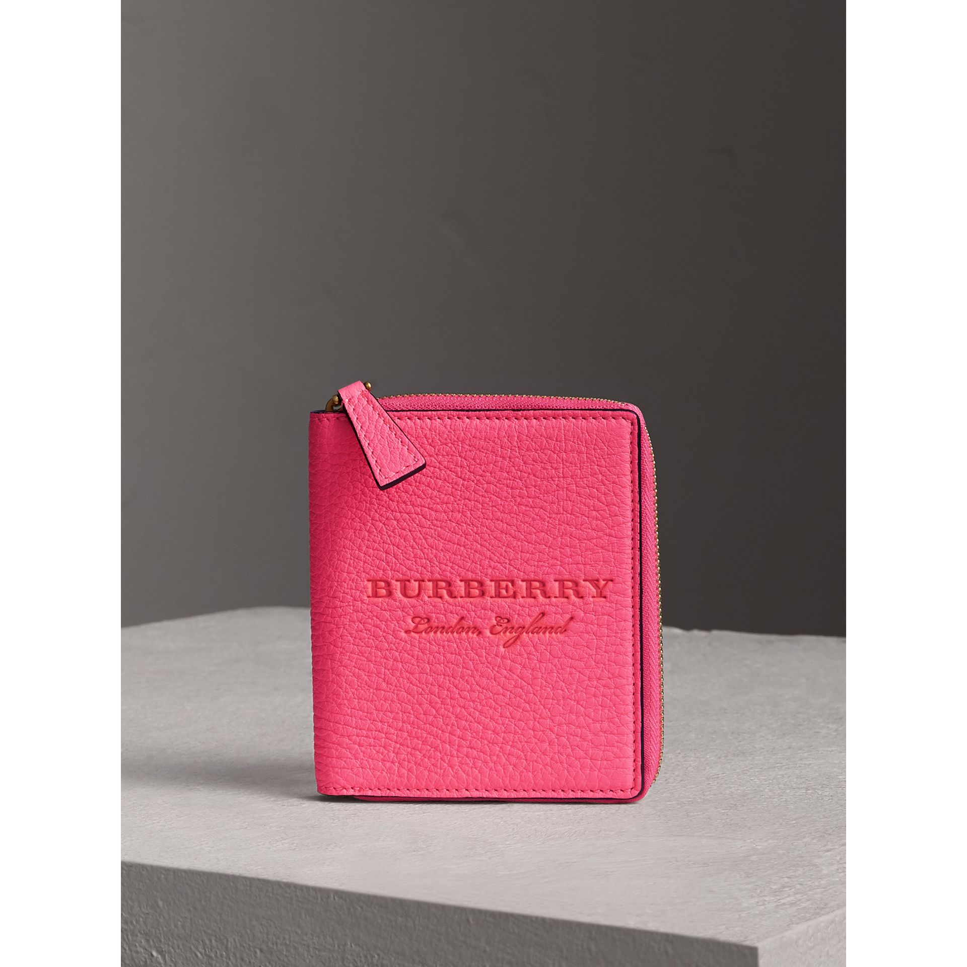 Embossed Grainy Leather Ziparound A6 Notebook Case in Bright Pink | Burberry - gallery image 4