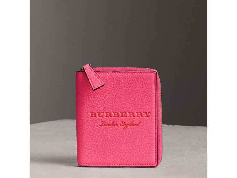 Embossed Grainy Leather Ziparound A6 Notebook Case in Bright Pink | Burberry - cell image 4