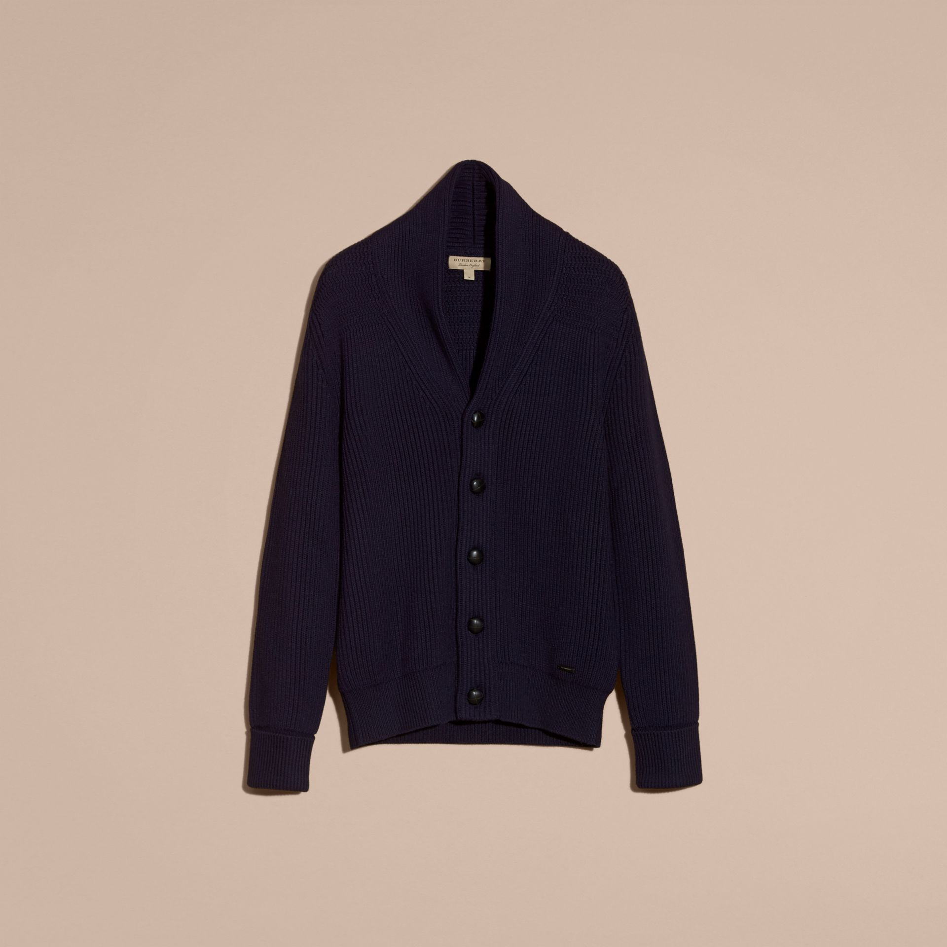 Navy Shawl Collar Ribbed Wool Silk Cardigan - gallery image 4