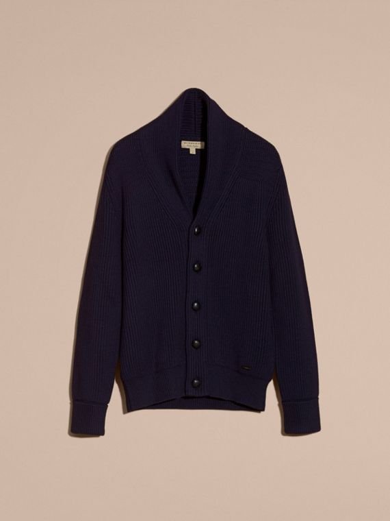 Navy Shawl Collar Ribbed Wool Silk Cardigan - cell image 3