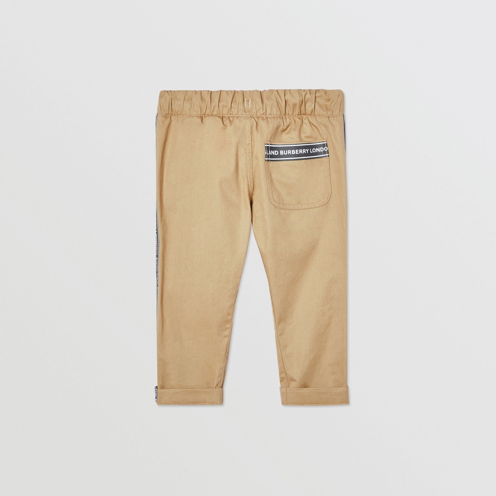 Logo Tape Cotton Chinos in Honey - Children | Burberry United Kingdom - gallery image 3