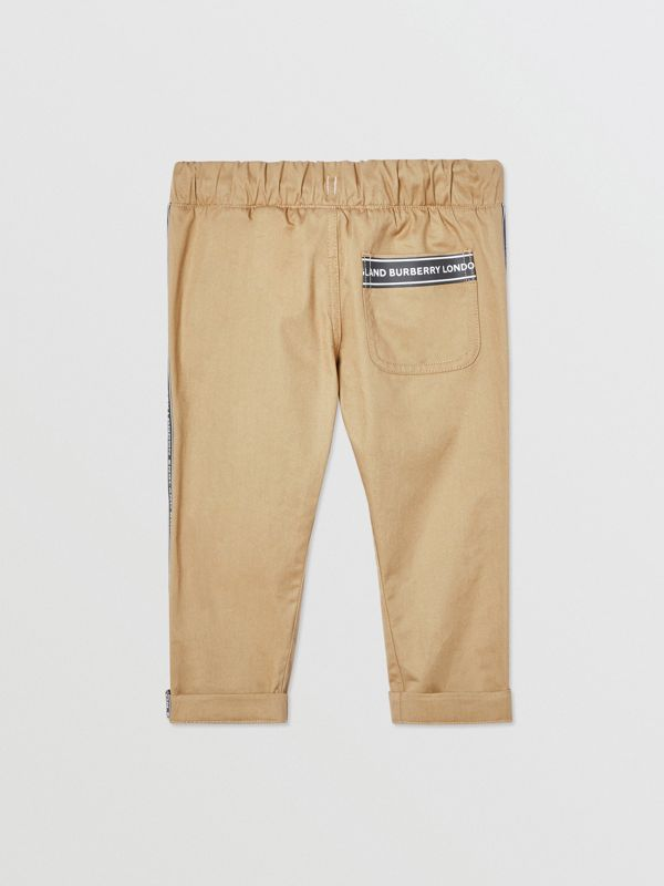 Logo Tape Cotton Chinos in Honey - Children | Burberry United Kingdom - cell image 3