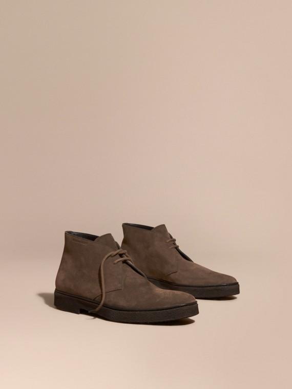 Crepe Sole Suede Desert Boots Khaki