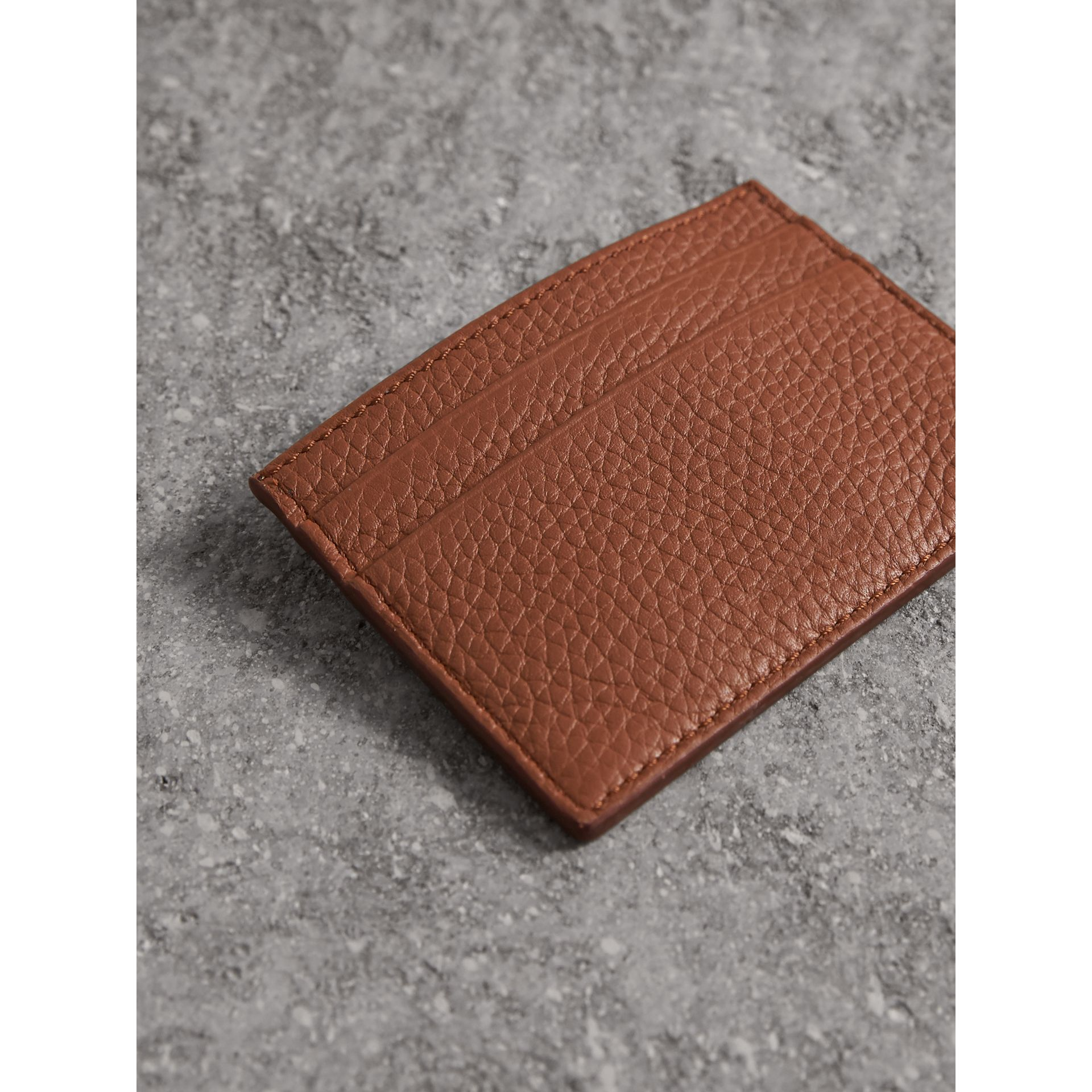 Textured Leather Card Case in Chestnut Brown - Men | Burberry Australia - gallery image 3
