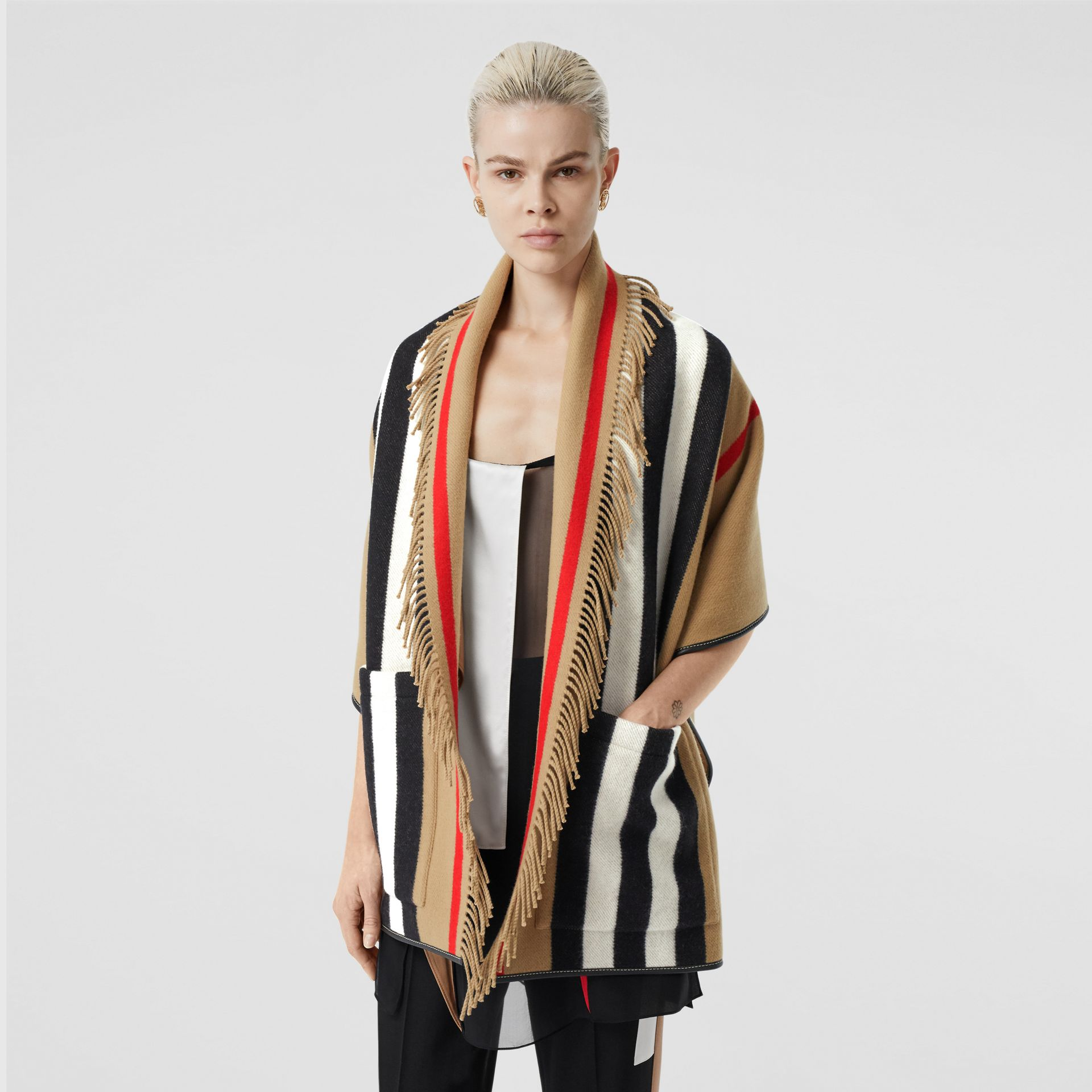 Icon Stripe Wool Cashmere Jacquard Cape in Archive Beige - Women | Burberry - gallery image 6