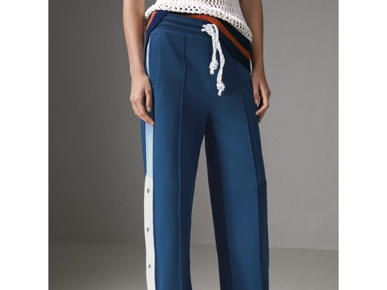 Panelled Wide-leg Drawcord Trousers in Hydrangea Blue - Women | Burberry United Kingdom - cell image 4