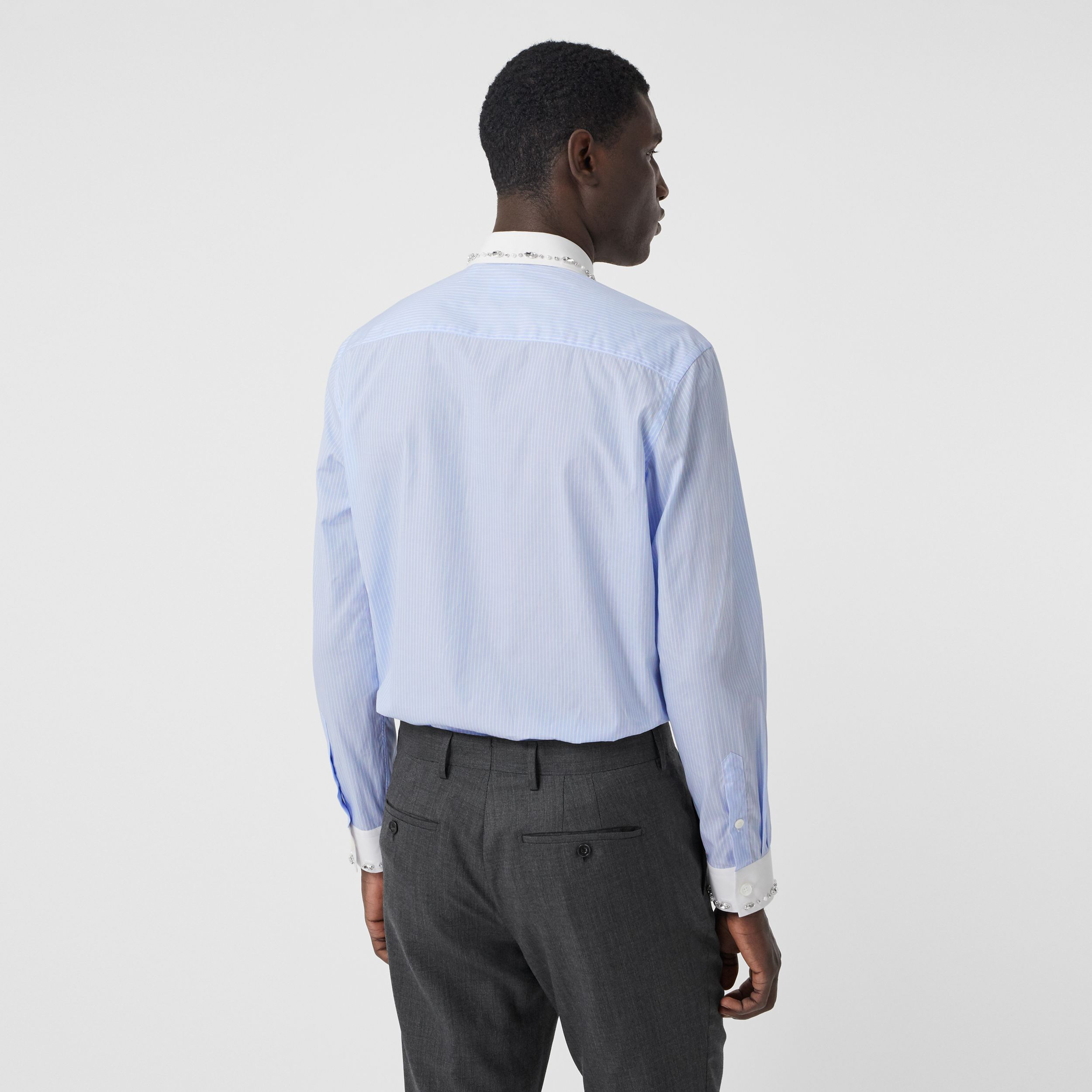 Classic Fit Embellished Pinstriped Cotton Shirt in Pale Blue - Men | Burberry - 3