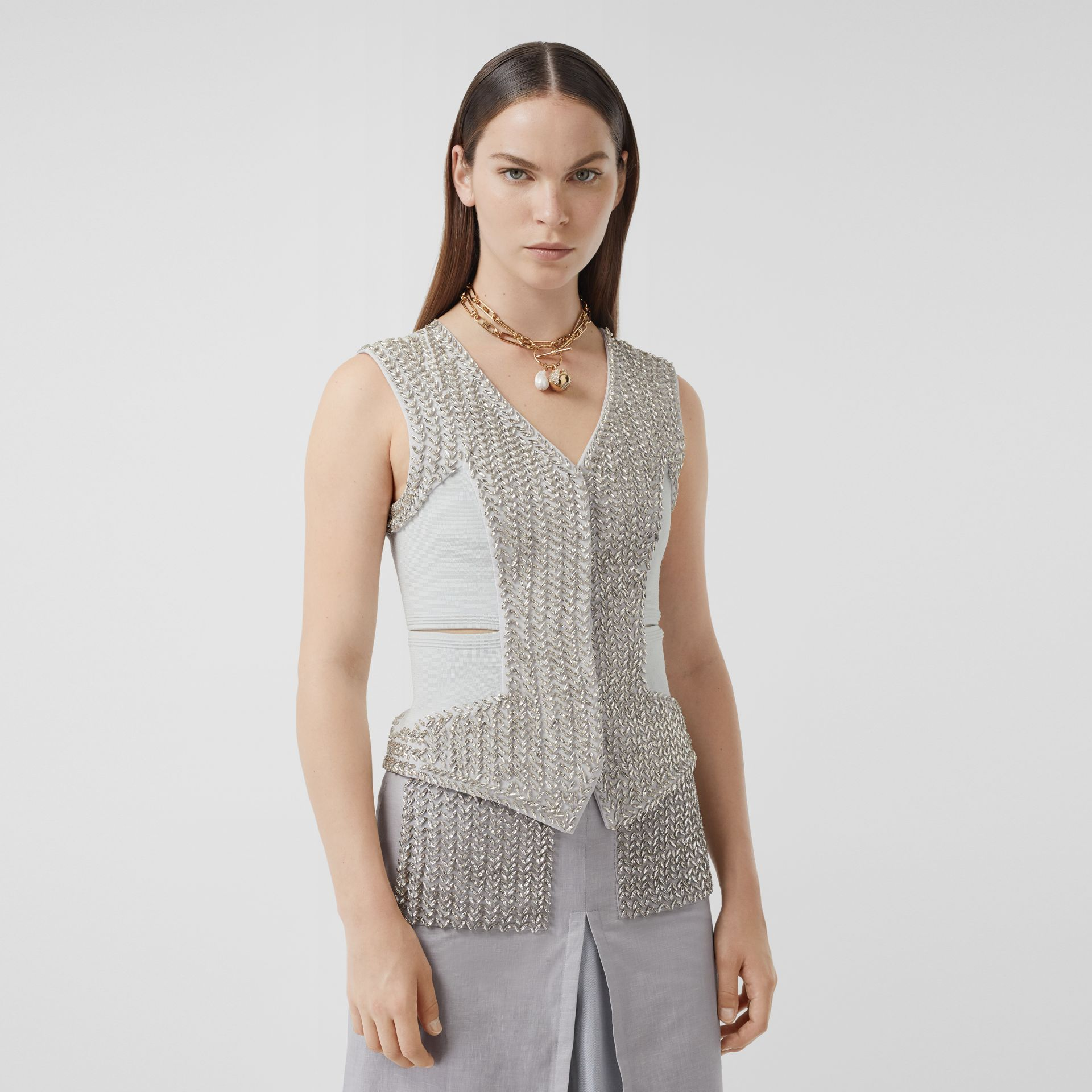 Crystal Embroidered Mohair Wool Cut-out Waistcoat in Light Pebble Grey - Women | Burberry - gallery image 4