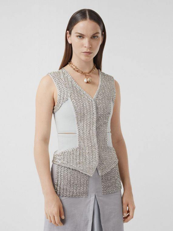Crystal Embroidered Mohair Wool Cut-out Waistcoat in Light Pebble Grey