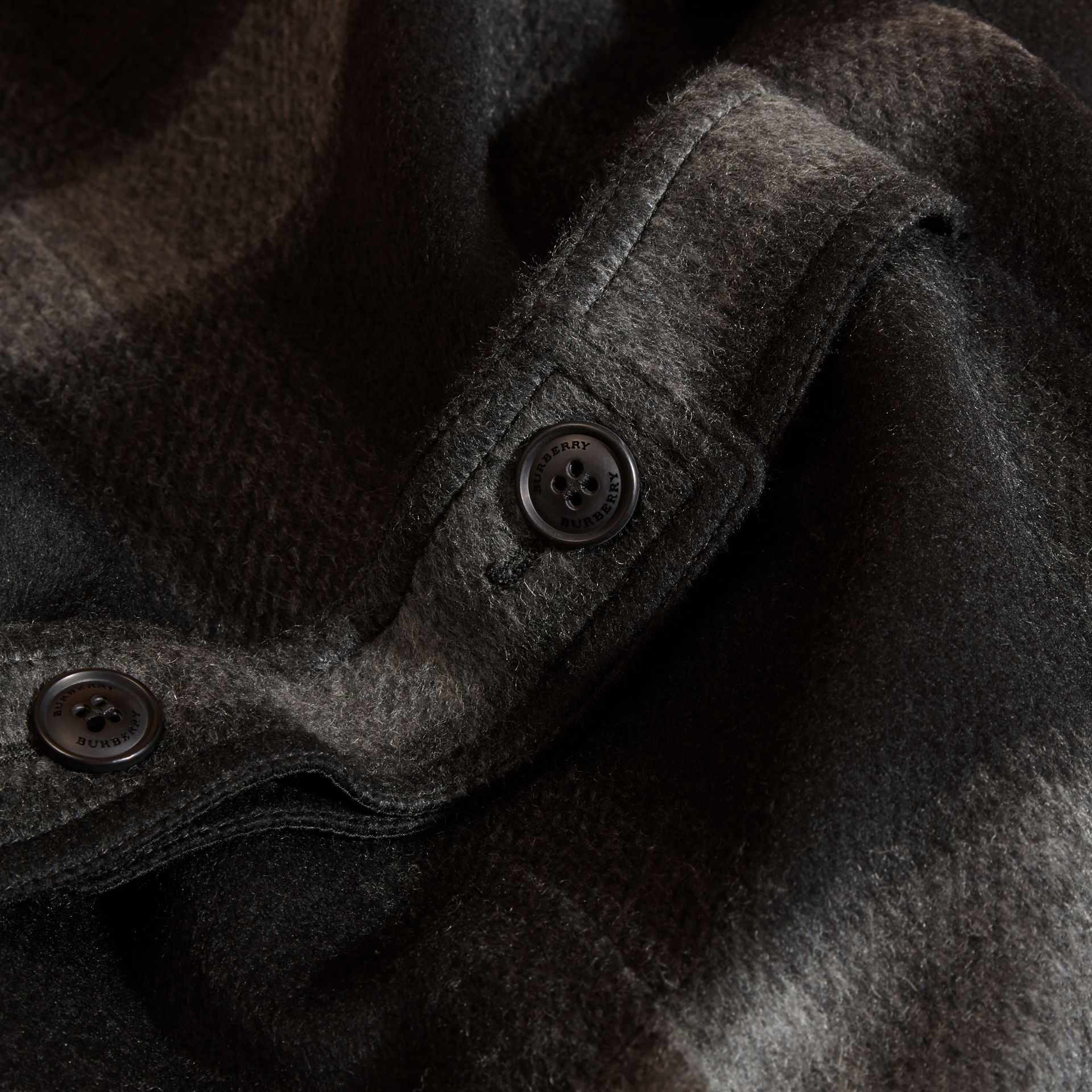 Dark charcoal Check Wool Blend Collarless Coat - gallery image 2