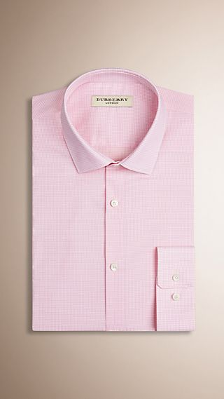 Modern Fit Gingham Cotton Poplin Shirt