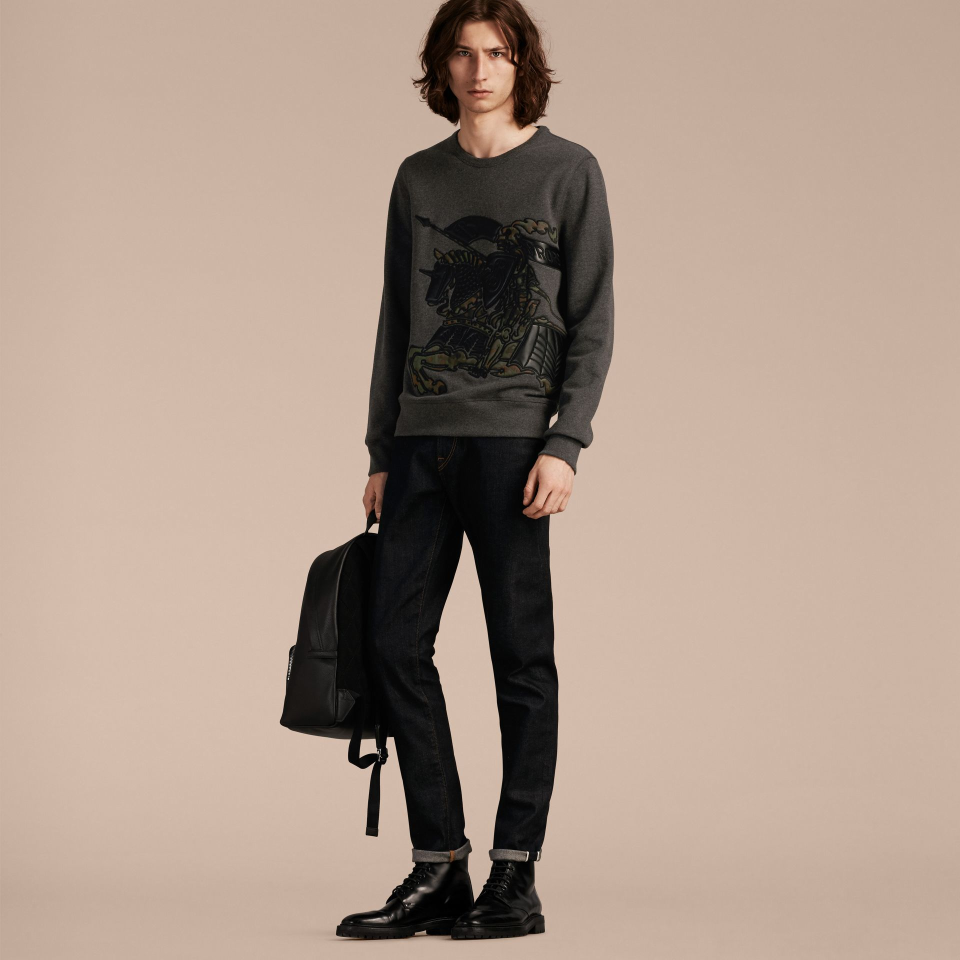 Charcoal melange Equestrian Knight Motif Cotton and Lambskin Sweatshirt - gallery image 6