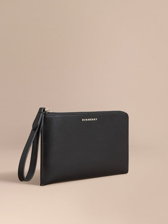 London Leather Travel Wallet in Black | Burberry