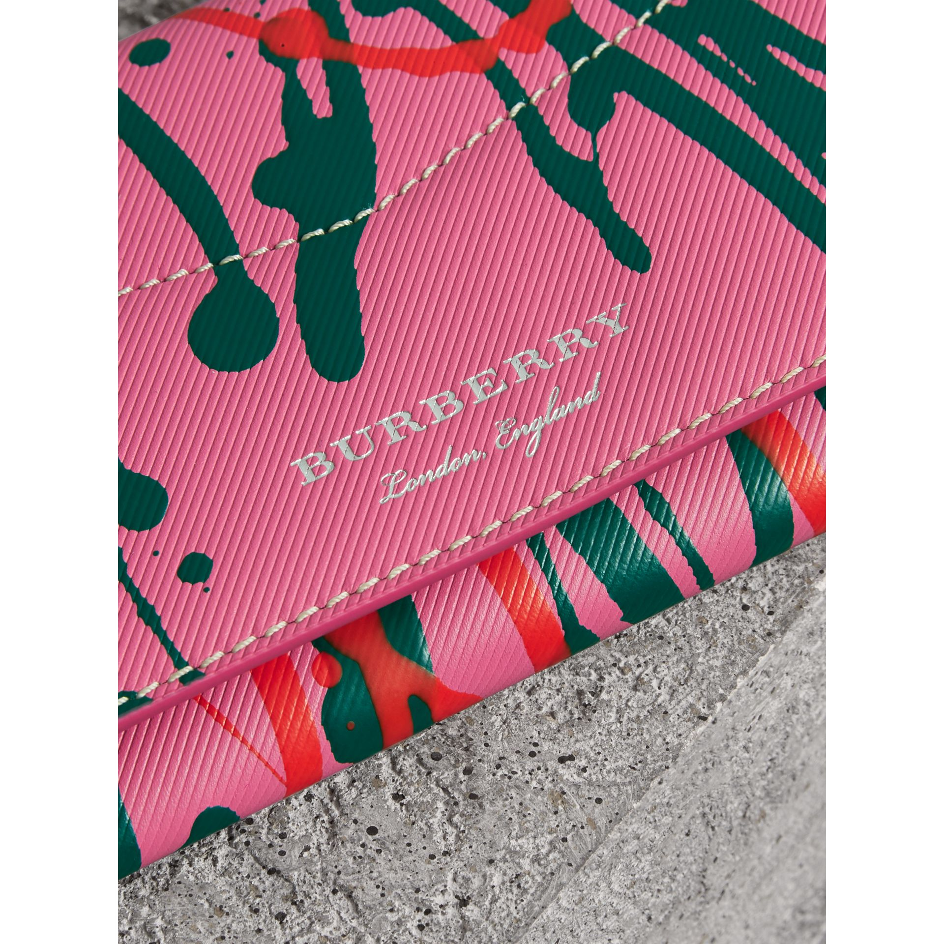 Splash Trench Leather Envelope Wallet in Rose Pink/orange Red - Women | Burberry Canada - gallery image 1