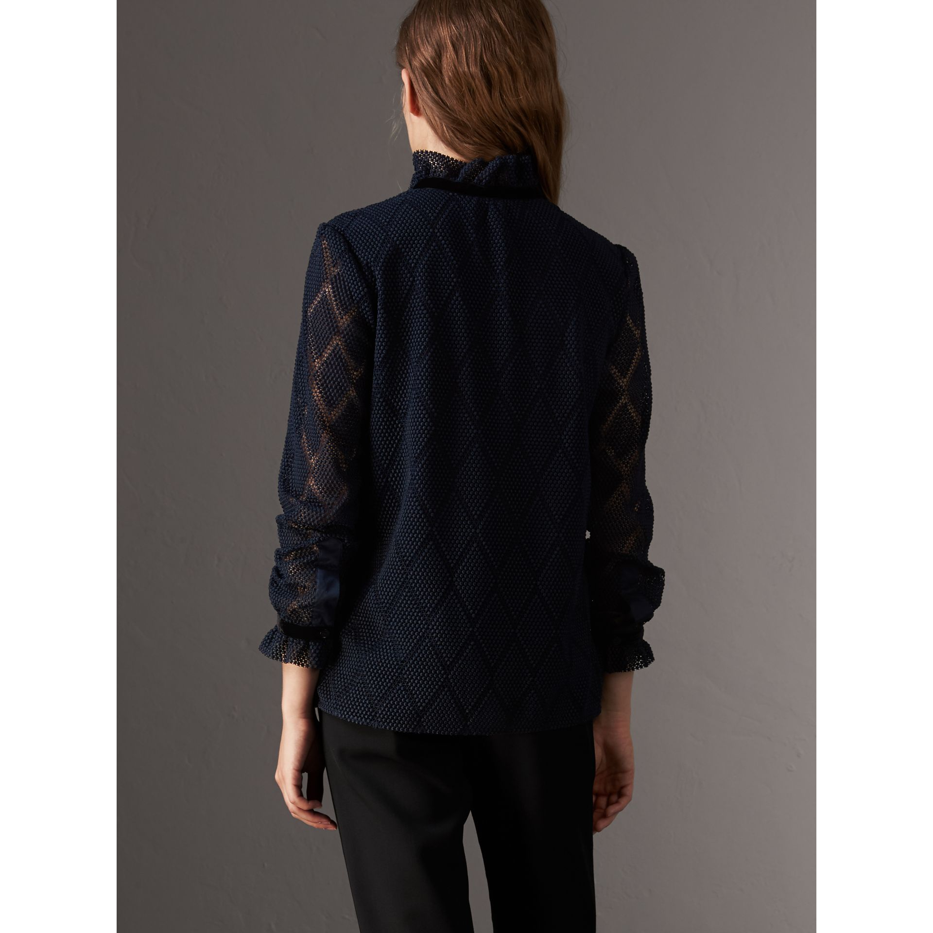 Geometric Lace Tie-neck Shirt in Navy - Women | Burberry United Kingdom - gallery image 3