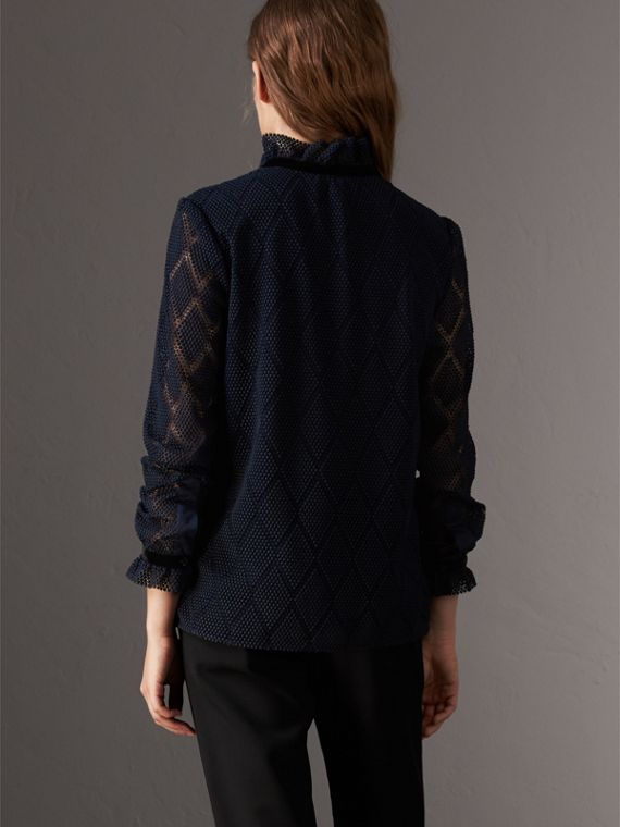 Geometric Lace Tie-neck Shirt in Navy - Women | Burberry United Kingdom - cell image 2