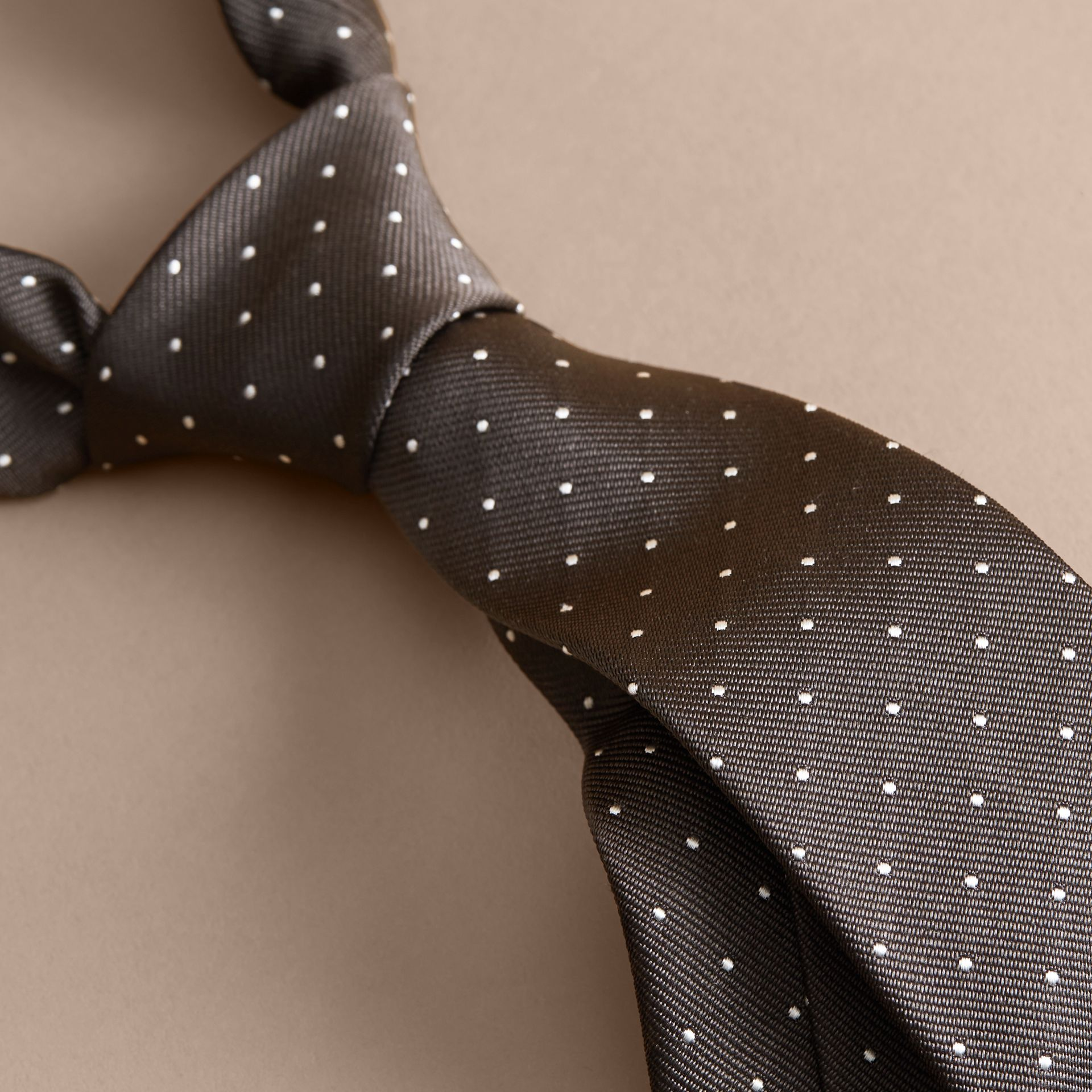 Charcoal Modern Cut Polka Dot Silk Tie Charcoal - gallery image 2