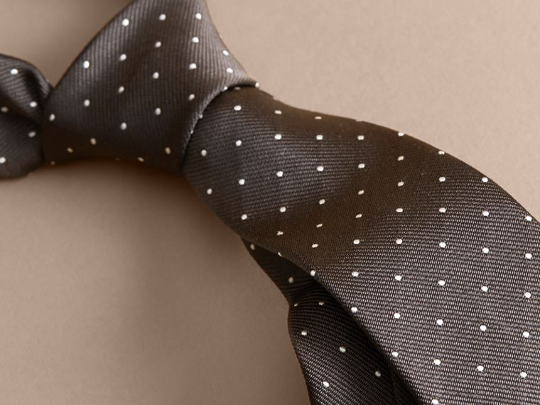 Modern Cut Polka Dot Silk Tie Charcoal - cell image 1
