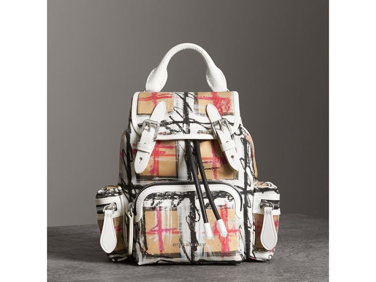 The Small Crossbody Rucksack in Scribble Check in Chalk White - Women | Burberry - cell image 4