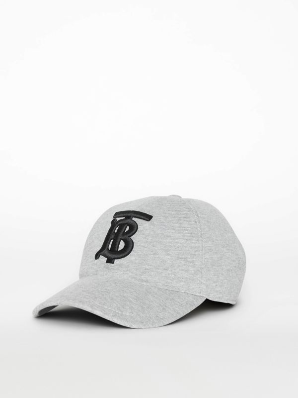 Monogram Motif Baseball Cap in Light Grey Melange | Burberry - cell image 3