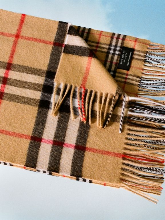 Gosha x Burberry Check Cashmere Double Scarf in Antique Yellow | Burberry - cell image 1