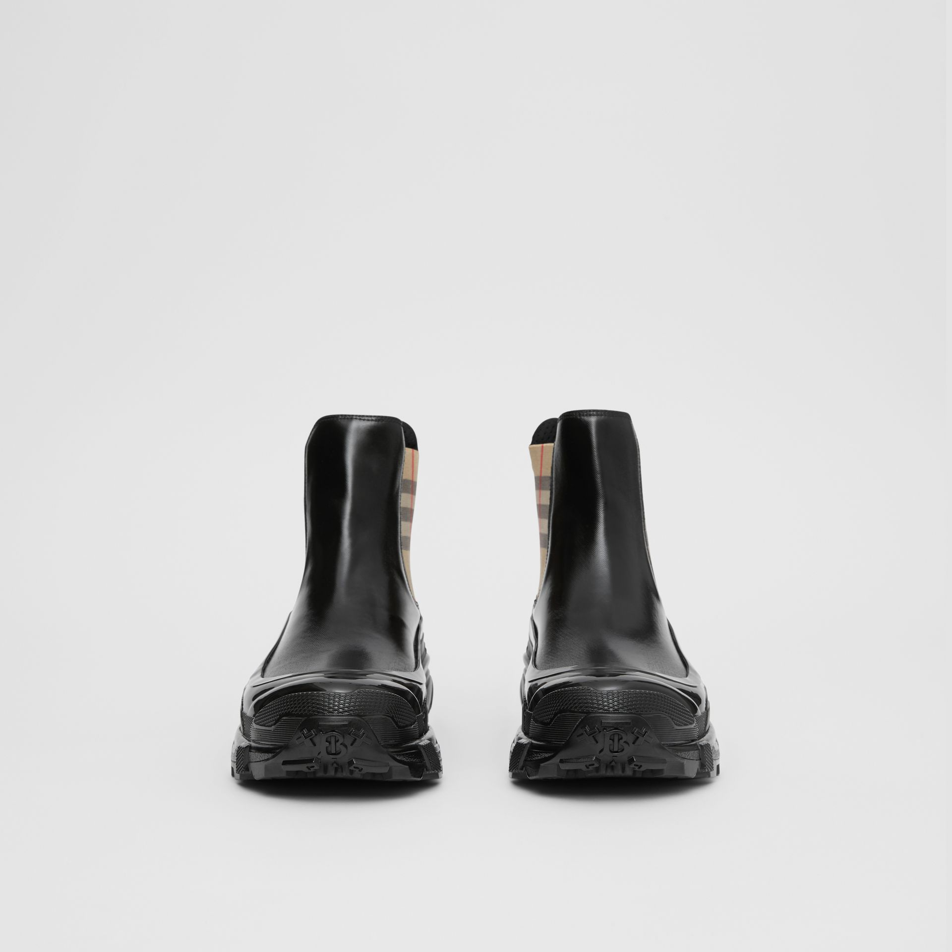 Vintage Check Detail Coated Canvas Chelsea Boots in Black/archive Beige - Women | Burberry Canada - gallery image 3