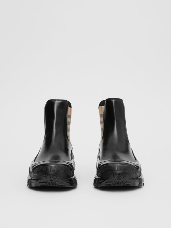 Vintage Check Detail Coated Canvas Chelsea Boots in Black/archive Beige - Women | Burberry Hong Kong S.A.R - cell image 3