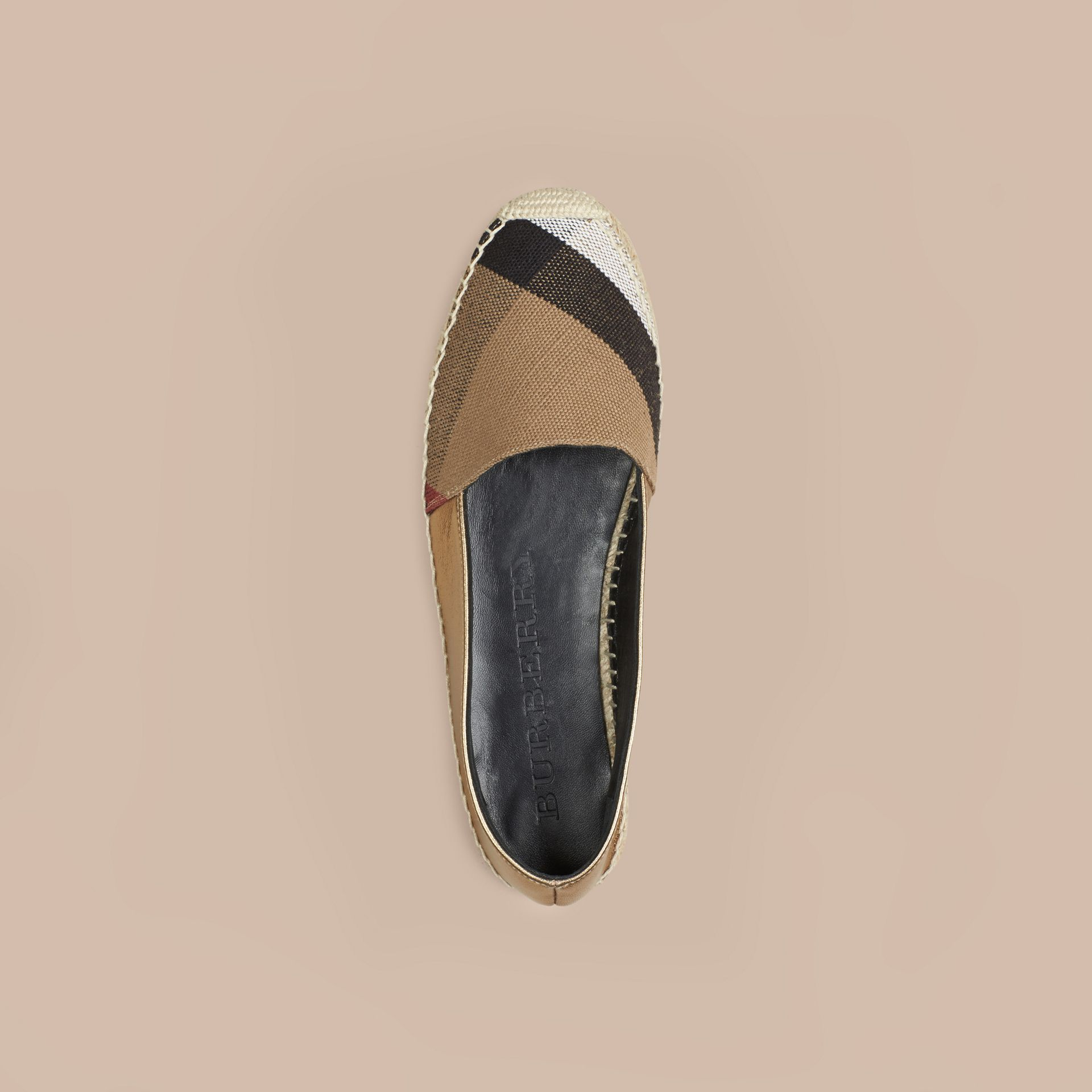 Heritage gold Check Jute Cotton and Leather Espadrilles - gallery image 3