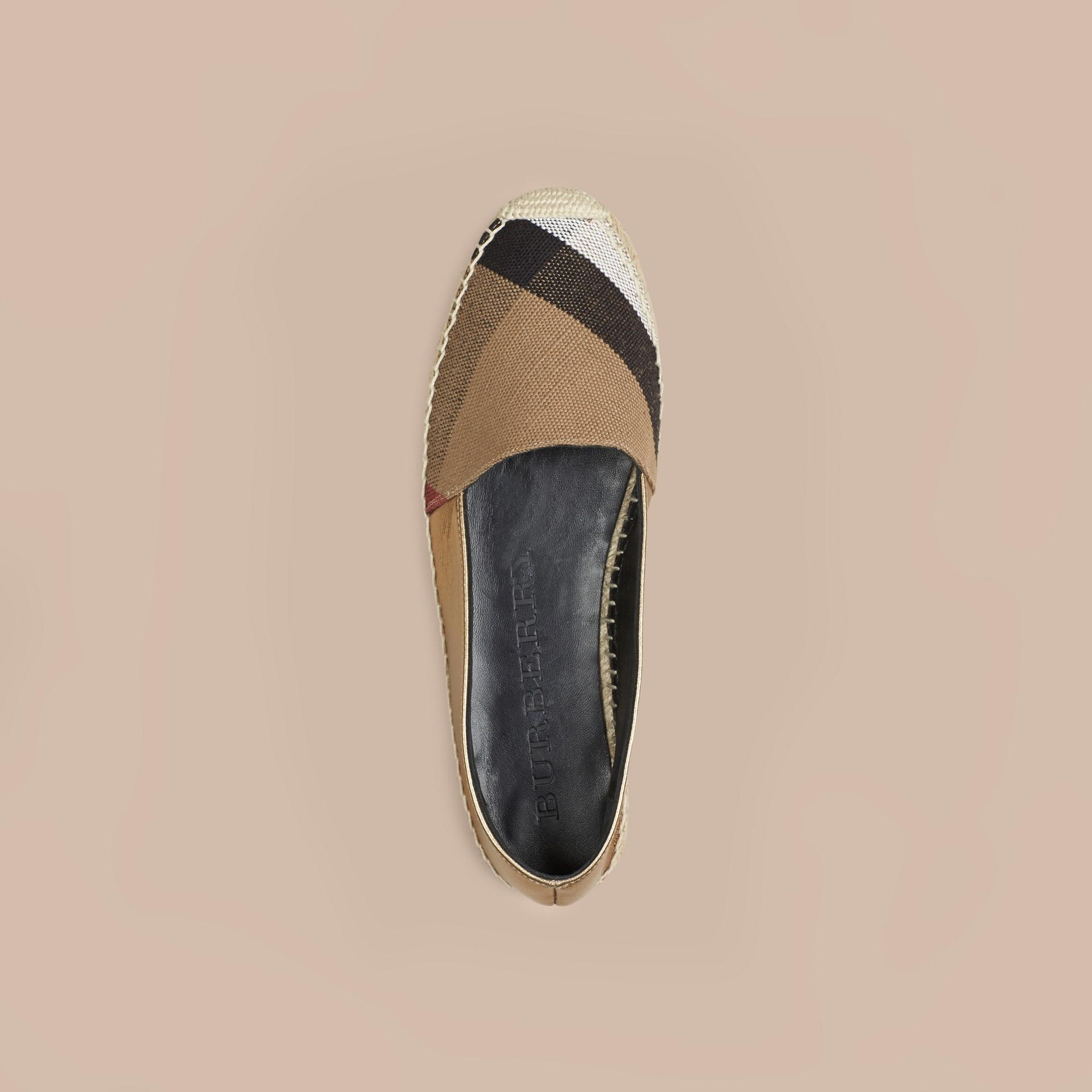 Miel heritage Espadrilles en jute de coton et cuir avec motif check - photo de la galerie 3