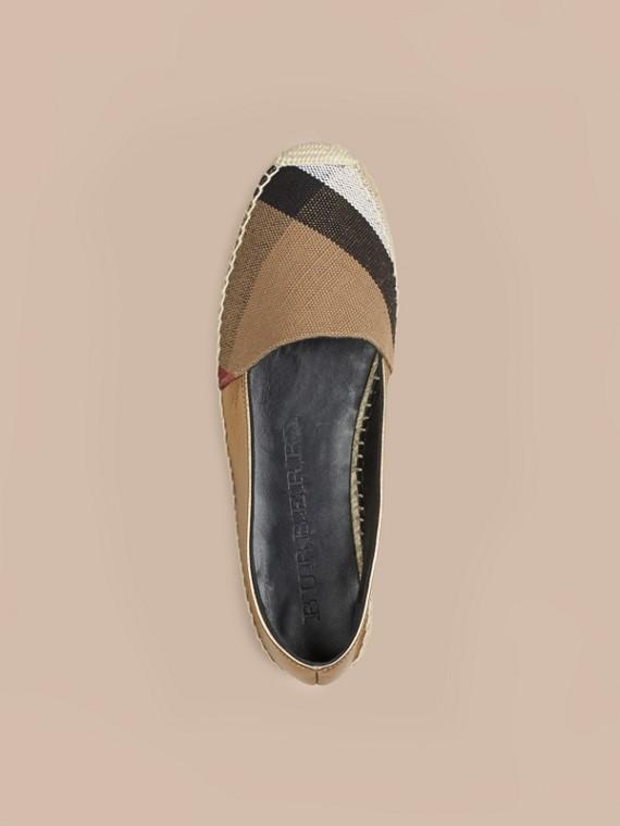 Miel heritage Espadrilles en jute de coton et cuir avec motif check - cell image 2