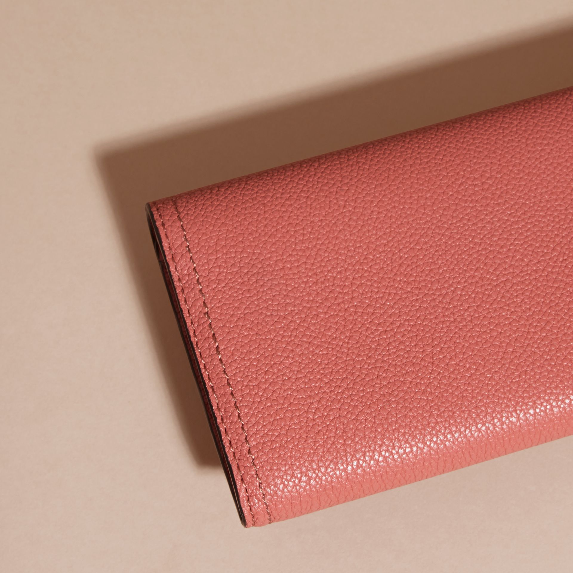 Copper pink Textured Leather Continental Wallet Copper Pink - gallery image 4