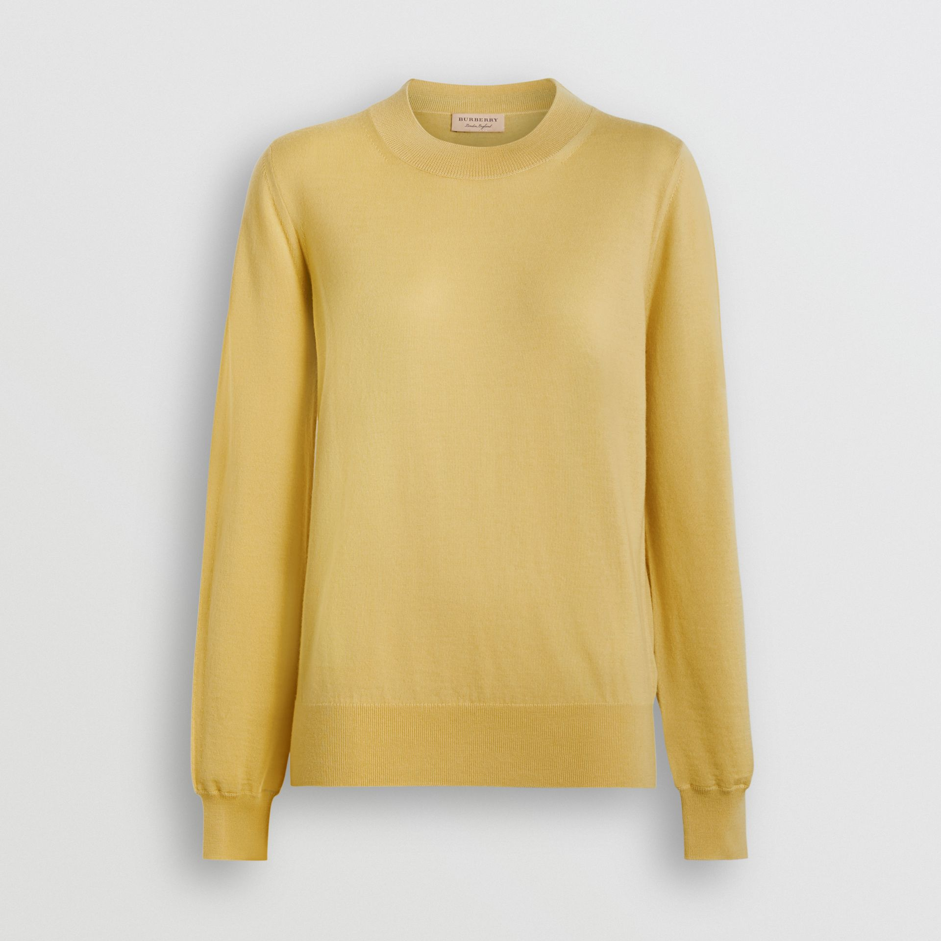 Logo Detail Merino Wool Sweater in Primrose Yellow - Women | Burberry - gallery image 3