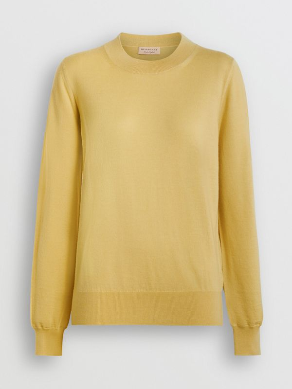 Logo Detail Merino Wool Sweater in Primrose Yellow - Women | Burberry - cell image 3