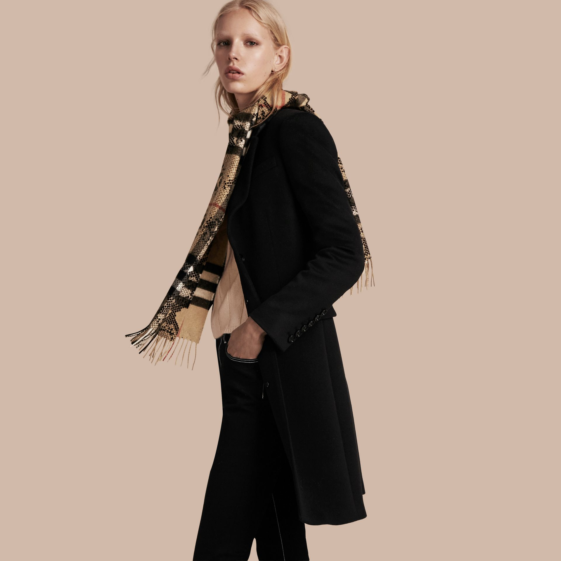 Camel/black The Classic Cashmere Scarf in Check and Python Print - gallery image 3