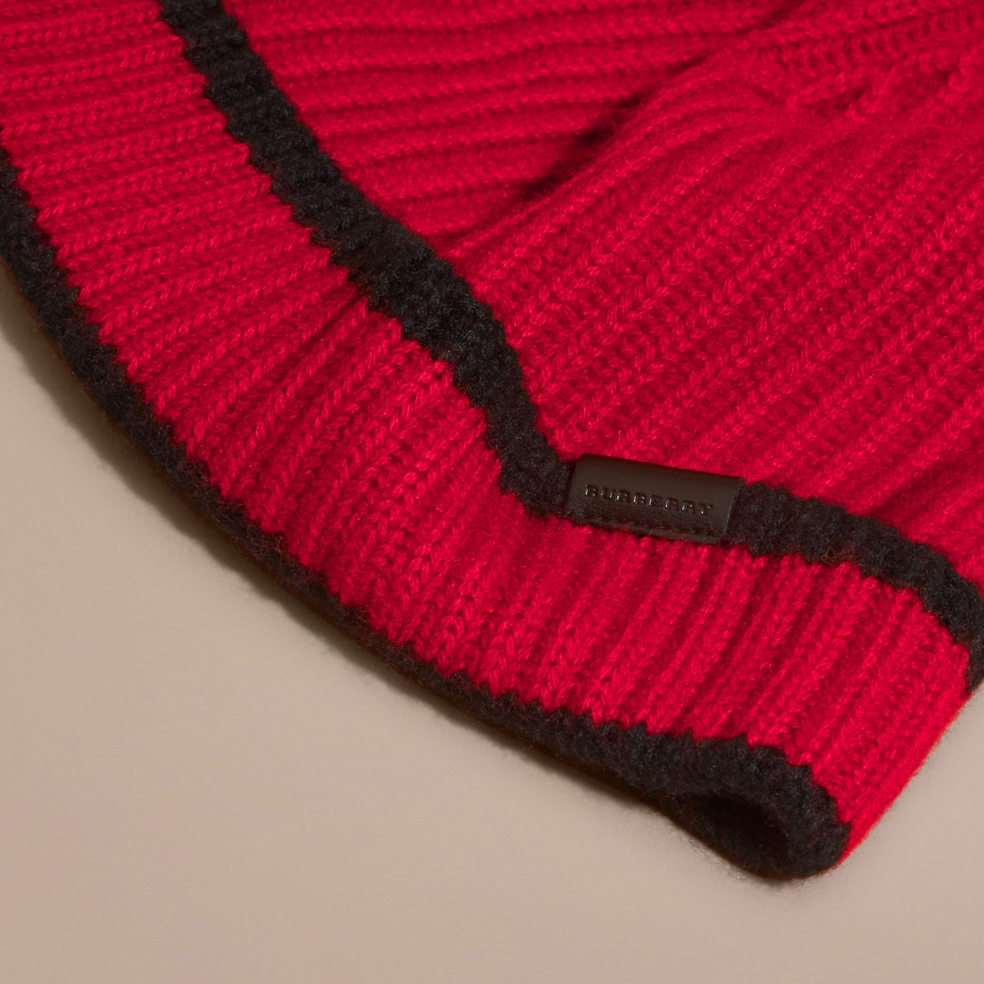 Parade red/black Ribbed Cashmere Tipped Beanie - gallery image 3