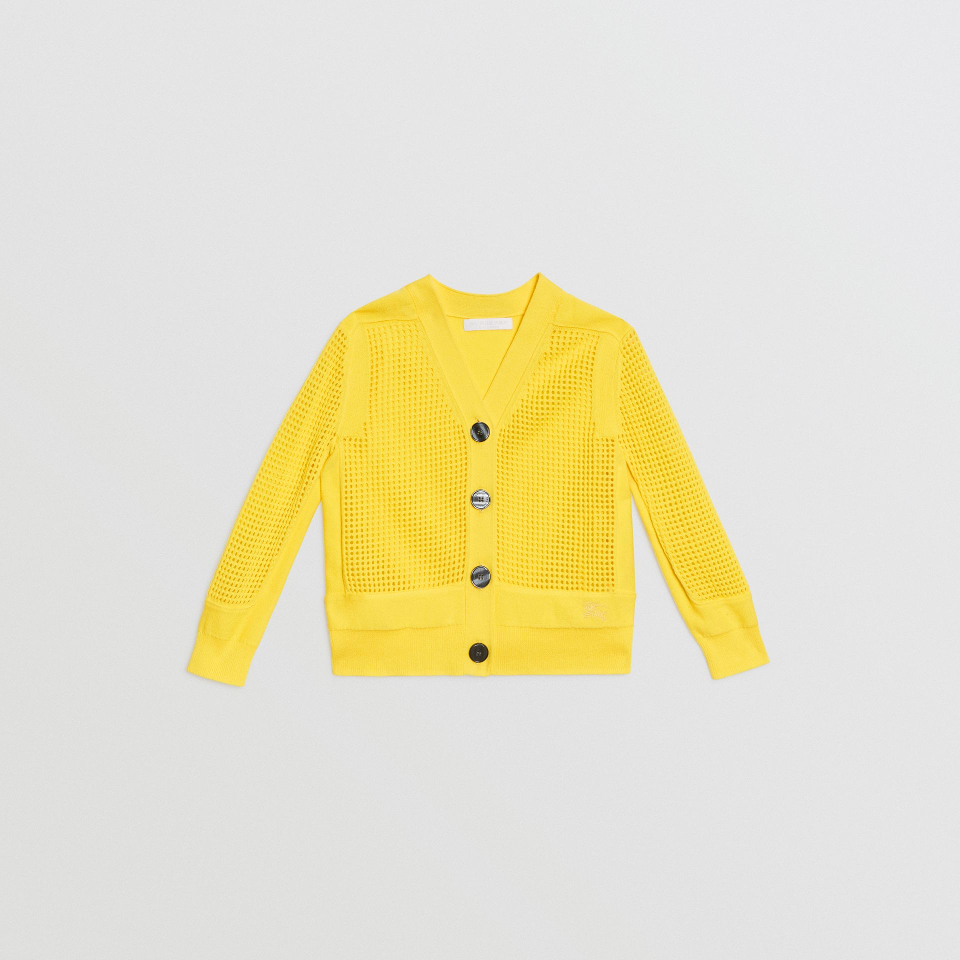 Open Knit Cotton V-neck Cardigan in Citrus Yellow | Burberry - gallery image 0