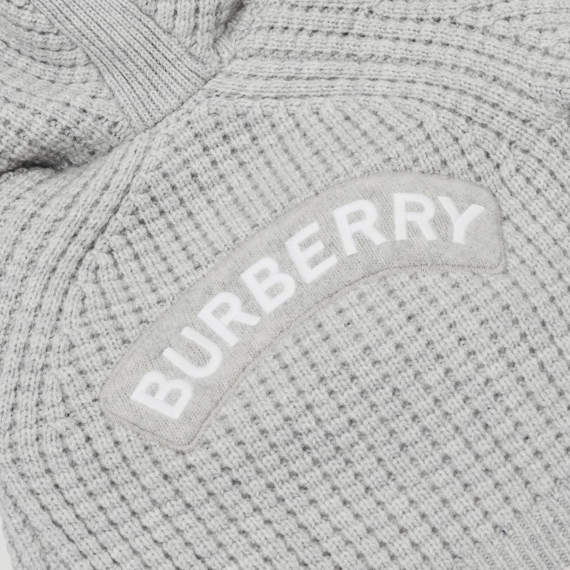 Thomas Bear Detail Wool Cashmere Hooded Jacket in Pale Grey - Children | Burberry - gallery image 1