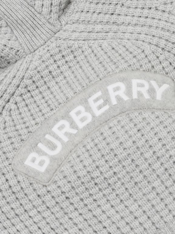 Thomas Bear Detail Wool Cashmere Hooded Jacket in Pale Grey - Children | Burberry - cell image 1
