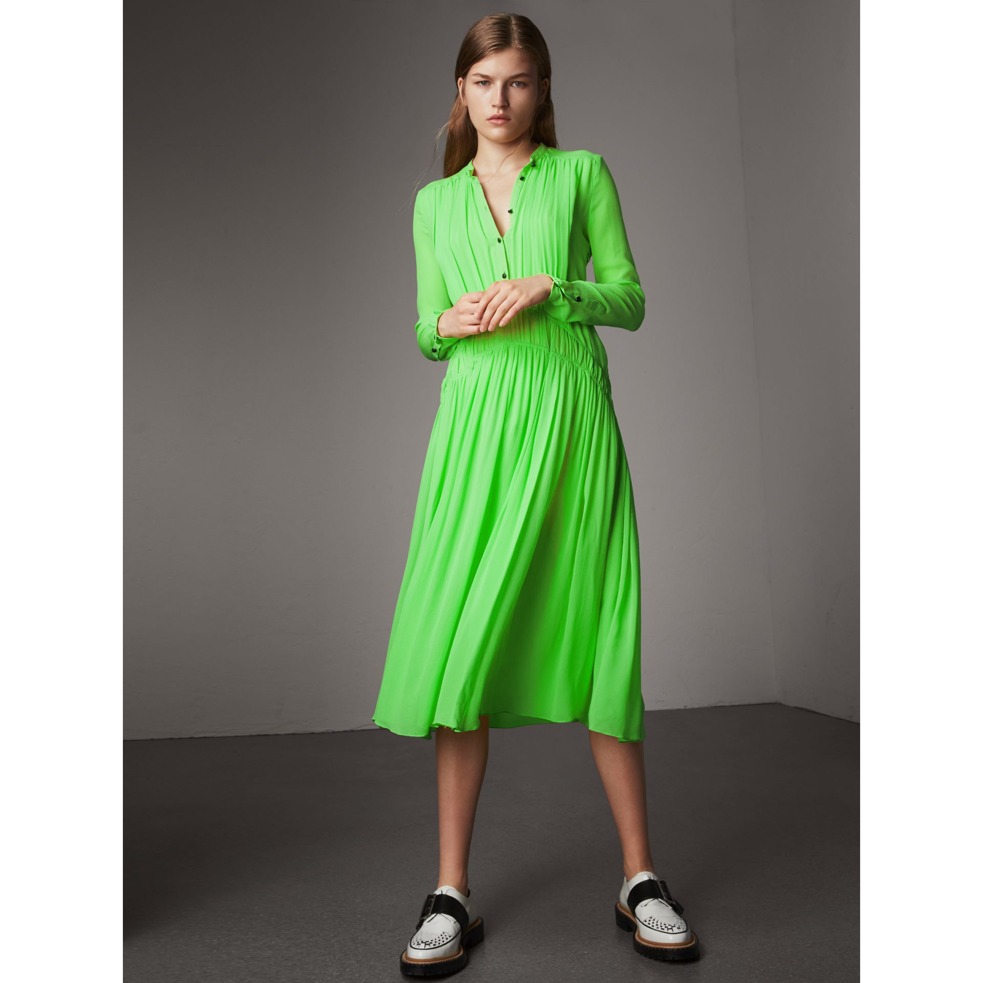 Gathered Silk Georgette Dress in Neon Green - Women | Burberry United Kingdom - gallery image 5