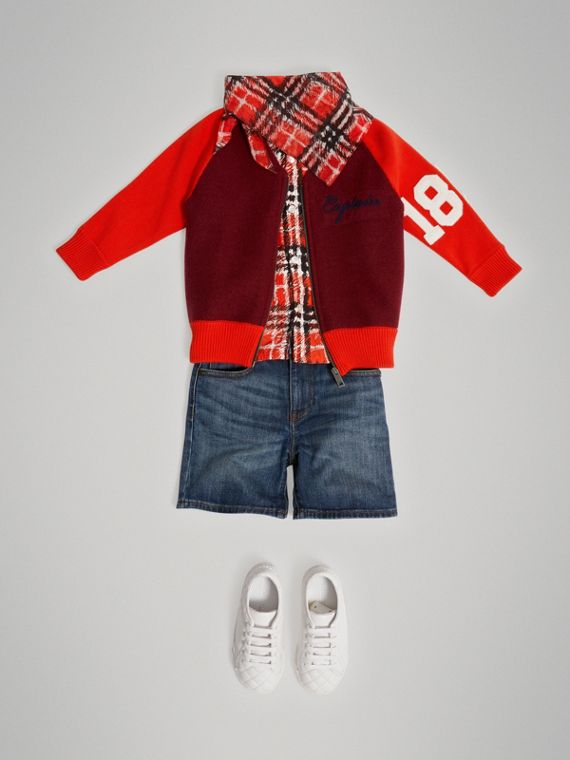 Merino Wool and Cotton Baseball Jacket in Burgundy - Boy | Burberry - cell image 2