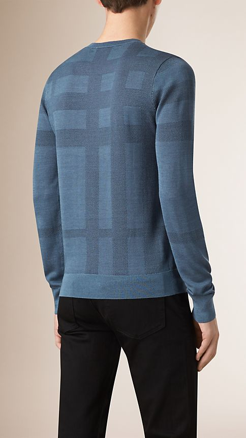 Dark slate blue Check Crew Neck Silk Sweater - Image 2