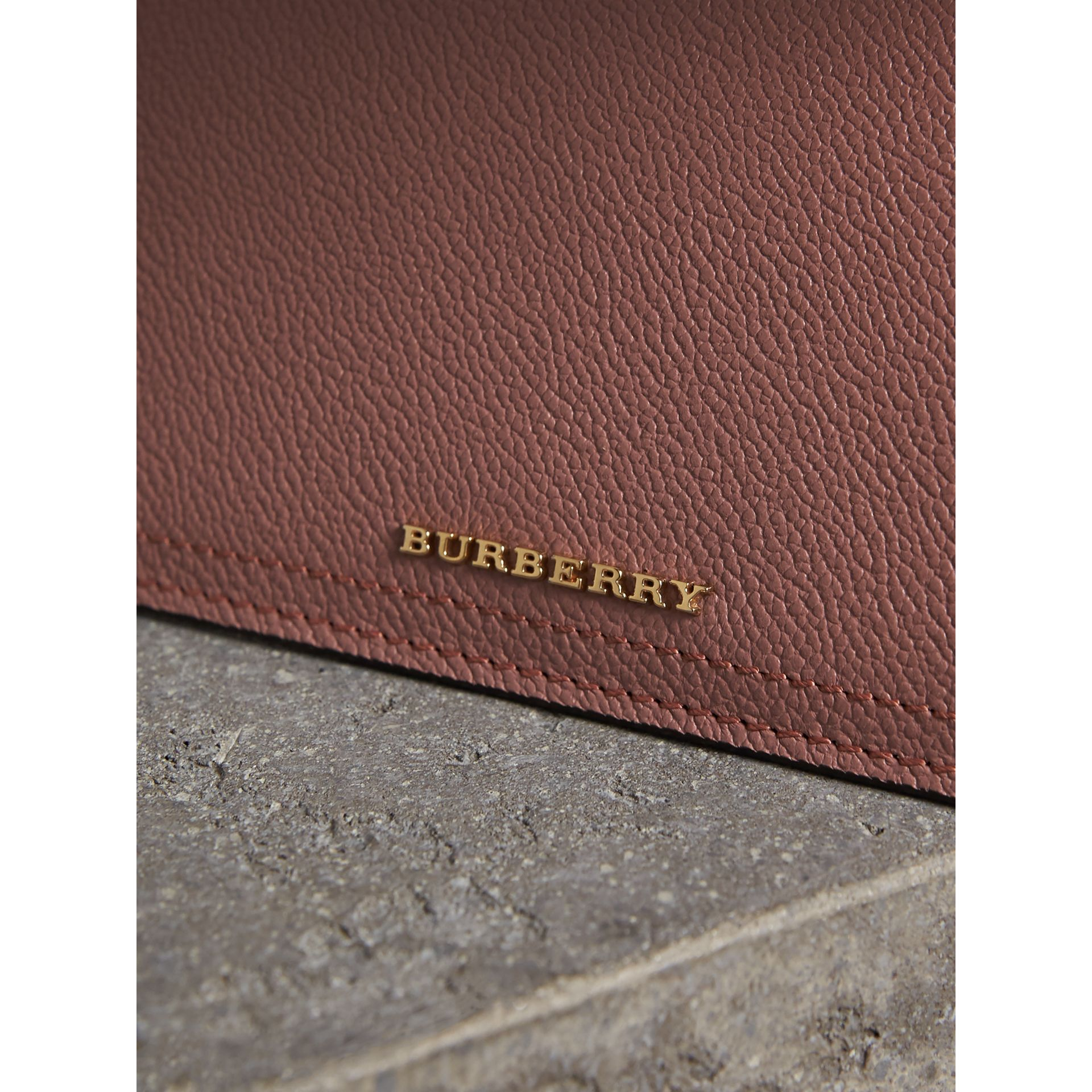 Leather Continental Wallet with Removable Coin Case in Dusty Pink - Women | Burberry - gallery image 2
