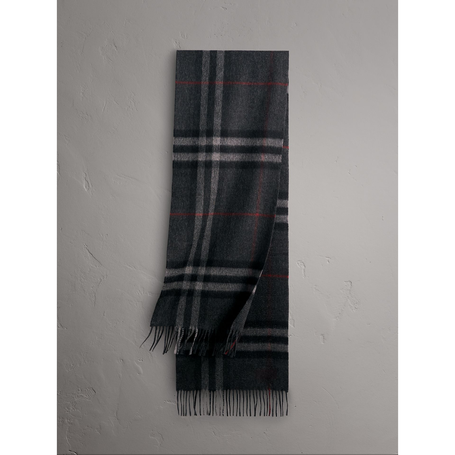 The Classic Check Cashmere Scarf in Charcoal | Burberry Hong Kong - gallery image 0