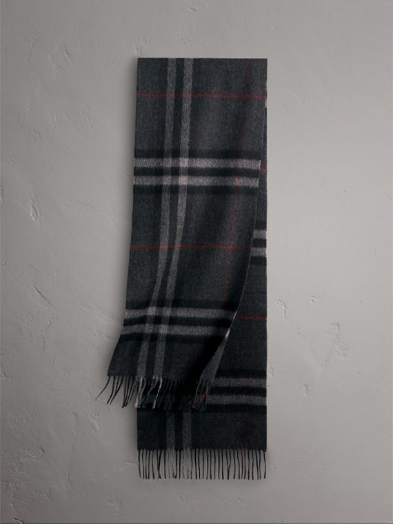 The Classic Check Cashmere Scarf in Charcoal | Burberry