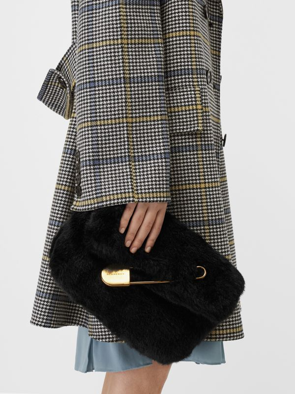The Medium Pin Clutch in Faux Fur in Black - Women | Burberry - cell image 2