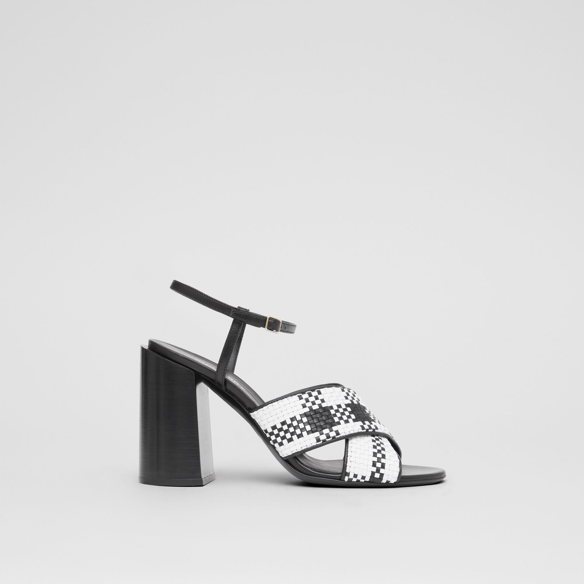 Latticed Leather Block-heel Sandals in Black/white - Women | Burberry Hong Kong S.A.R - gallery image 5