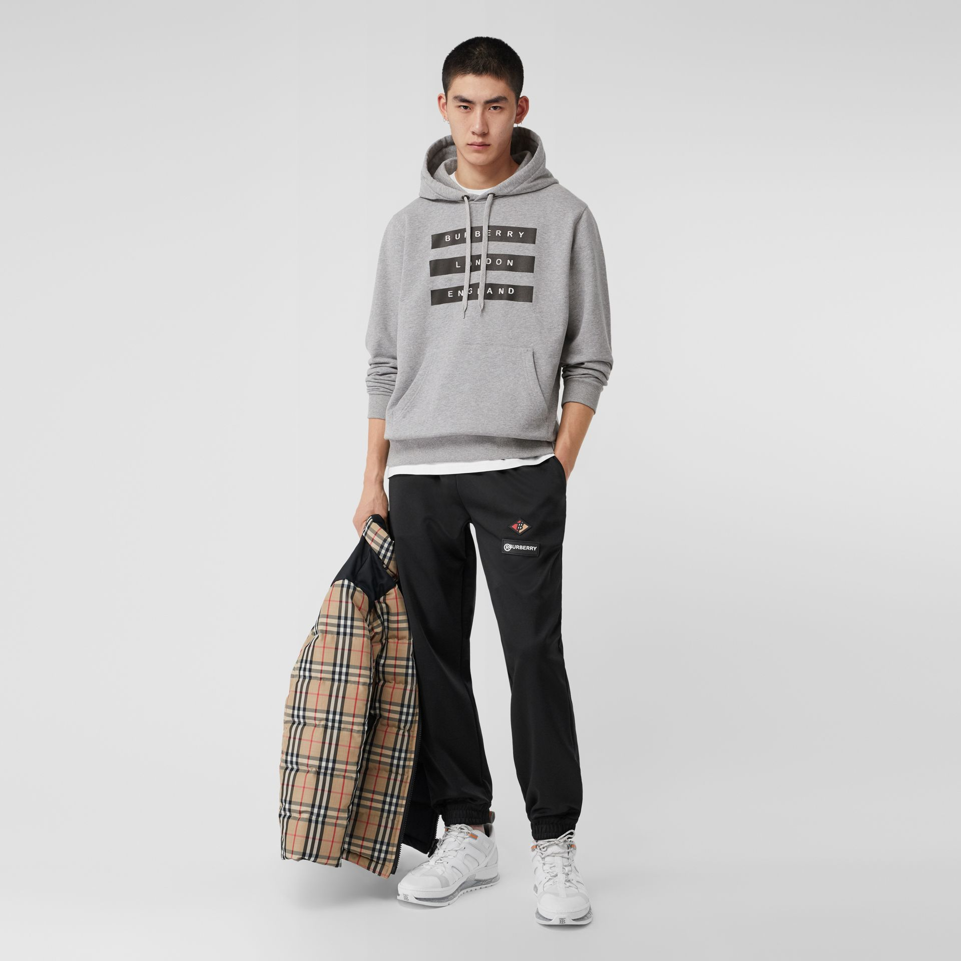 Tape Print Cotton Hoodie in Pale Grey Melange - Men | Burberry United Kingdom - gallery image 4