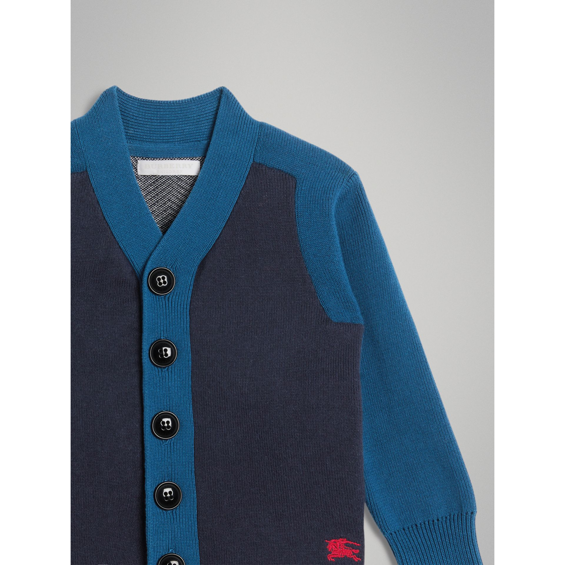 Colour Block Cotton Cardigan in Navy | Burberry Canada - gallery image 4